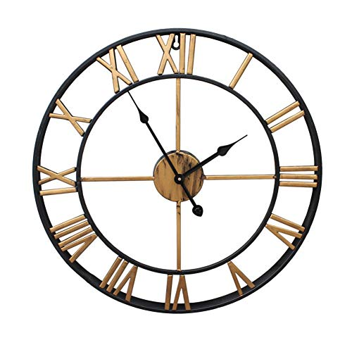 DENG&JQ Wall Clock,Retro Wrought Iron Living Room Hollow Clear Reading Scanning Movement Rotation Nordic Decorative Clock Single Side-B 40cm(16inch) ()