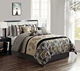 WPM 7 Piece Bedding set, Grey, Beige, Taupe Comforter with Accent pillows Bed in a Bag Paisley (Queen)