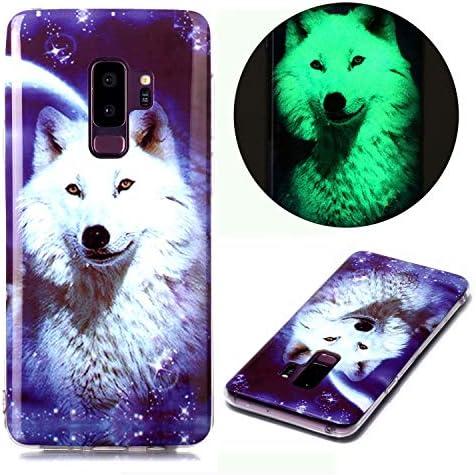 Miagon Leuchtend Luminous Hülle für Samsung Galaxy S9,Fluoreszierend Licht im Dunkeln Handyhülle Silikon Case Handytasche Stoßfest Schutzhülle,Weiß Wolf