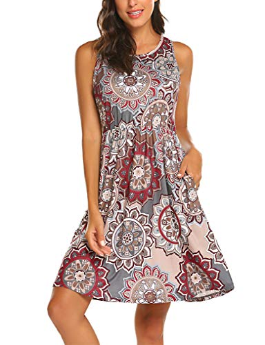 OURS Women's Boho Floral Print Crew Neck Sleeveless Dresses with Pockets Grey L