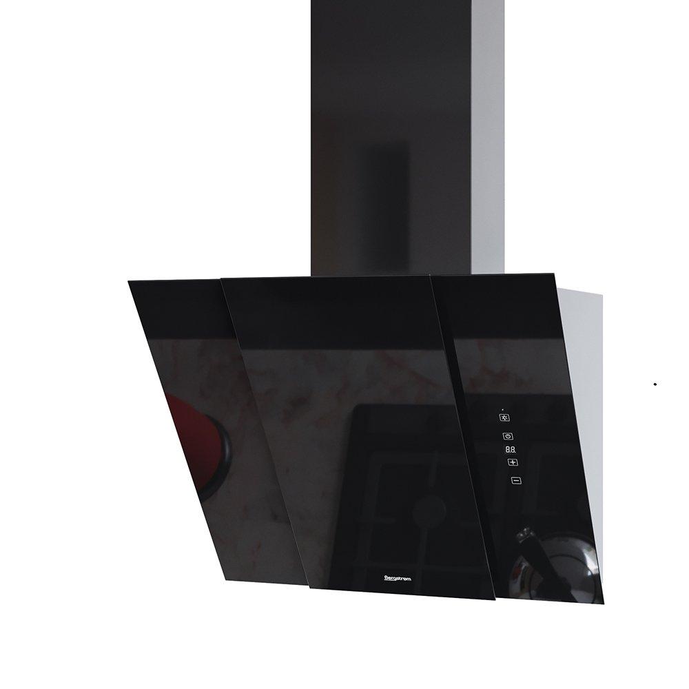 BERGSTROEM BJOERN Dunstabzugshaube Glas LED Wandhaube Schräghaube kopffrei Fernbedienung (Schwarz, 60 cm)