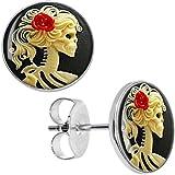 Body Candy Stainless Steel Red Rose Skeleton Stud Earrings