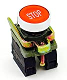 PBC-XB4BA42-STOP DIRECT REPLACEMENT FITS TELEMECANIQUE 22MM RED STOP FLUSH PUSH BUTTON WITH 1NO/1NC CONTACT BLOCK (YOU CAN ADD OR CHANGE THE CONTACT BLOCKS TO 2NC OR 2 NO)