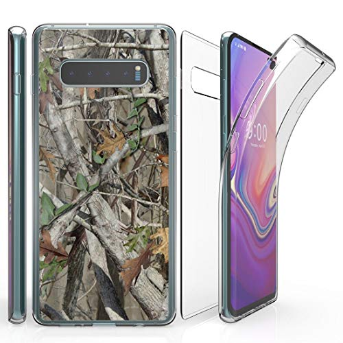 Beyond Cell Tri Max Series Compatible with Samsung Galaxy S10+ Plus, Slim Full Body Coverage Case with Self-Healing Flexible Gel Transparent Clear Screen Protector Cover and Atom Cloth - Tree Camo