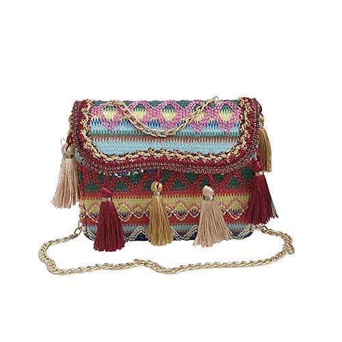 (Pawaca Women Embroidered Purse Cellphone Wallet Crossbody Bag Mini Shoulder Bag Multicolor,Woven Messenger Bag-Chains Handbag Ladies Ethnic Canvas Tassel Square Handbag Shoulder Bag,Crossbody Bags)