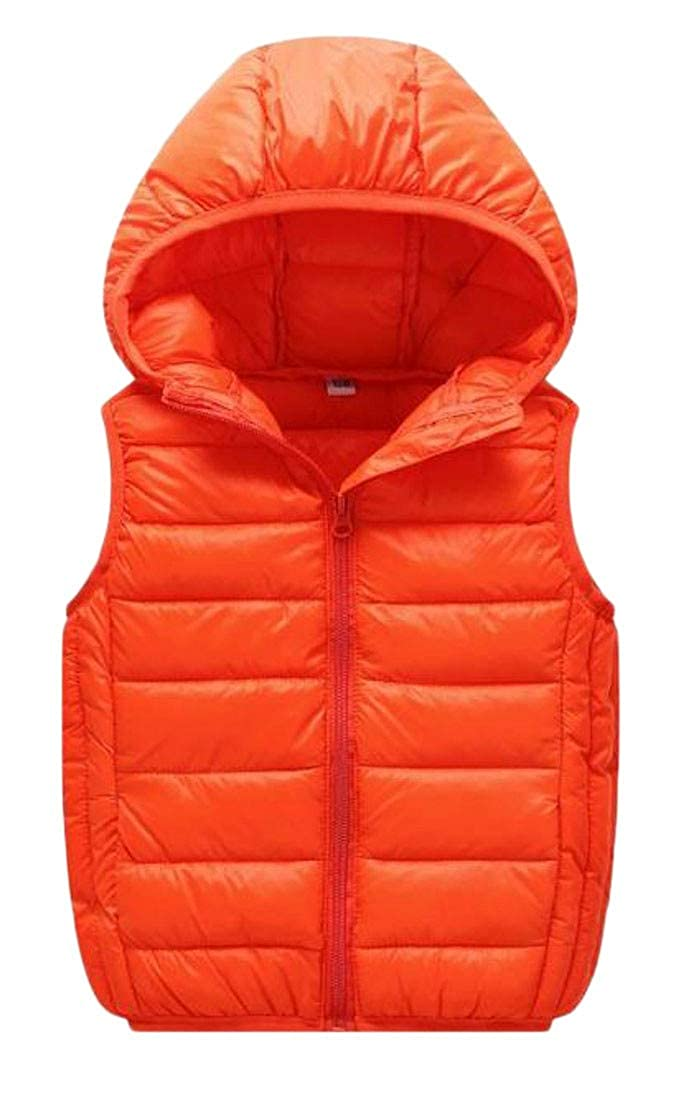Wofupowga Boys and Girls Warm Zipper Winter Packable Hooded Puffer Vest Down Vest