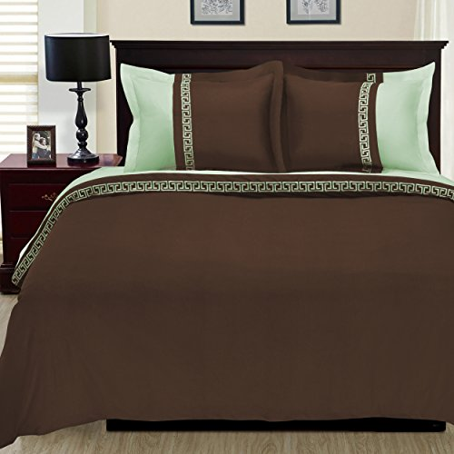 3-Piece Emma Wrinkle Resistant Duvet Cover Set, King/California King, Chocolate/Sage ()