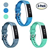 Konikit Fitbit Alta HR and Bands, Soft Replacement Wrist Band Accessory with Secure Watch Clasp, Diamond Texture,  Turquoise / Teal / Slate, Pack of 3