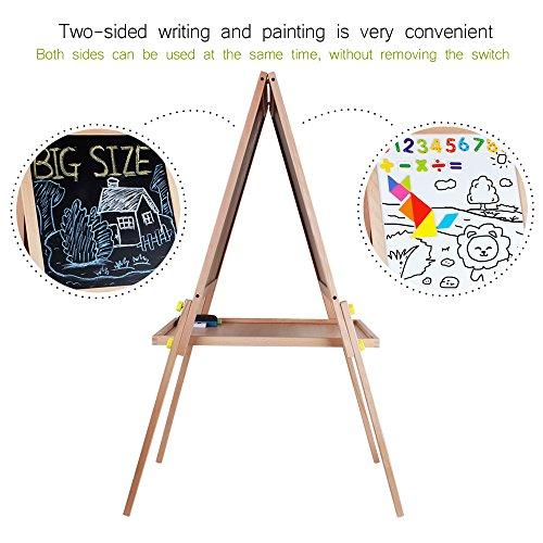 Kids Standing Art Easel Wooden Double Sided Adjustable Height Magnetic Drawing Board with Tray and Accessories by YIRAN (Image #5)
