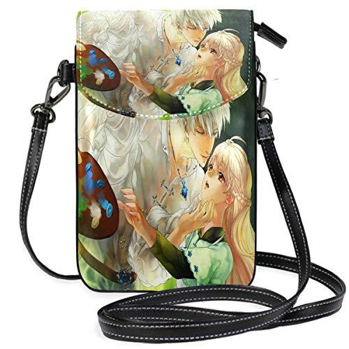 (Designer Anime Love Wallpaper Small Crossbody Bag Cellphone Wallet Womens Mini Leather Shoulder Bags)