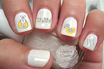 Amazon Com Baby Shower Set 4 Nail Art Decals Beauty