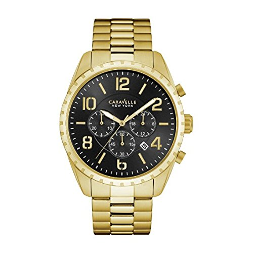 Bulova-Mens-Quartz-Stainless-Steel-Casual-Watch-ColorGold-Toned-Model-44B114