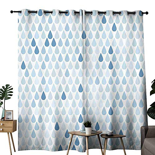 duommhome Farmhouse Decor Insulated Curtains Minimalist Rain Drops Motive inTones Tears of Earth Air Gravity Image Art Noise Reduction soundproof Curtain W72 xL84 Light Blue