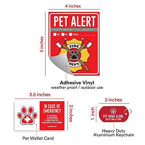 Pleasant Pet Alert Fire Rescue Sticker 4 5 X 4 Window Door Decal 2 Animal Care Wallet Cards 1 Pet Home Alone Key Tag In Case Of Emergency Sign Beutiful Home Inspiration Aditmahrainfo