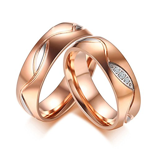 ANAZOZ Couple Wedding Ring Set Stainless Steel Rose Gold Plated Couple Eternity Rings Women Size 6 & Men Size -