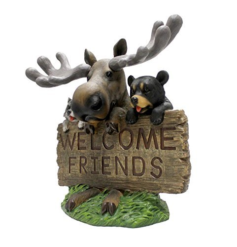 Outdoor Welcome Moose Bear And Raccoon Welcoming Statue By DWK | Adorable Garden Patio Animal Sculpture