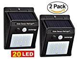 [Solnergy] 20 LED Bright Solar Sensor Light, Outdoor Motion Lighting, Big Power Button, Security Motion Sensor Lamp Light, Auto On/Off, Patio, Yard, Garden, Driveway, Stairs, Pool Area (2 in Pack)
