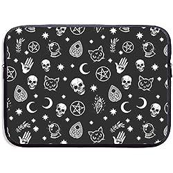 Colorido calavera gato luna gótico patrón 13/15 pulgadas portátil bolsa para MacBook Air 11 13 15 Pro 13.3 15.4 portátil con cierre bolsa para laptop tablet, resistente al agua, negro, Negro, 15 pulgadas