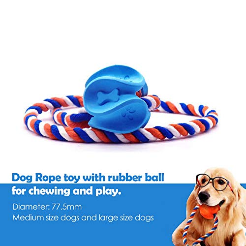 Cool Stuff Durable Dog Rope Chew Toys, Interactive Rubber Rope Dog Toy Nearly Indestructible Pet Toy for Medium Large…