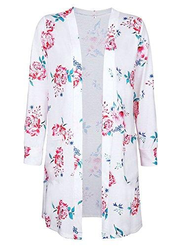 Landove Cardigan Long Femme Boheme Chic Veste en Tricot Motif Fleurie  Imprimé Manteau Automne à Manches Longues Outwear Gilet Ouvert Fluide  Jaquette Kimono ... 8f59fb7c1ea2
