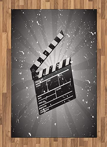 Movie Theater Area Rug, Clapper Board on Retro Backdrop with Grunge Effect Director Cut Scene, Non Slip Rug Pad 2.6' x 5' Rectangle, Safe for Hardwood Floors and All Surfaces