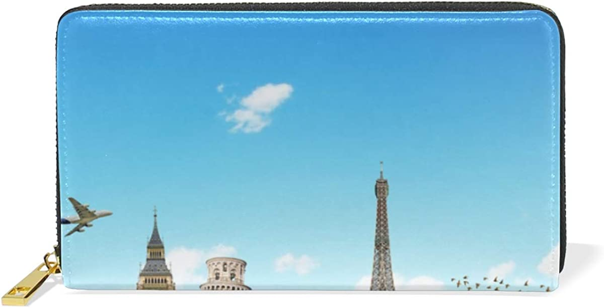Tour Blue Sky Earth World Wallet for Women Leather Zipper Phone Coin Purse