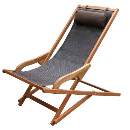 Outdoor Interiors Sling and Eucalyptus Lounger with Pillow by Outdoor Interiors