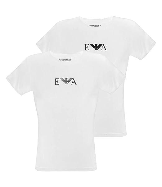 new style 2d4b5 014b9 Emporio Armani 2 Pack T-shirt con scollo rotondo Shirts con Logo EA cc715  111267