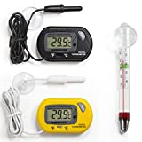 Aquatix Pro Aquarium Thermometer 3pc Set, 1 x Yellow and 1 x Black Large LCD Digital Thermometer, 1 x Suction Cup Floating Thermometer, Best For Maintaining Stable Fish Tank & Marine Temperature
