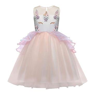 WTDlove Vestido de Novia de la Princesa del Vestido de Boda sin Mangas de Unicornio niños