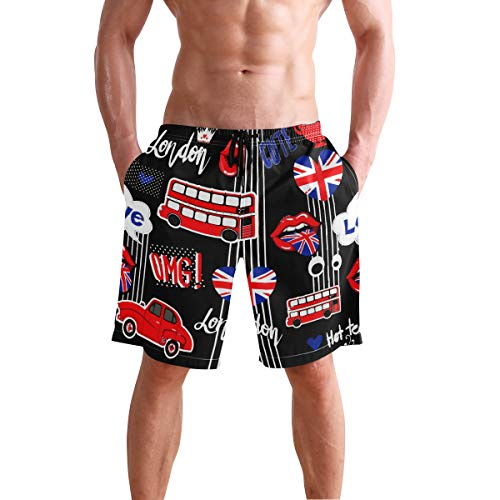 (Mens Shorts Abstract Union Jack Heart Car Volleyball Short Swimsuit Trousers for Boys)