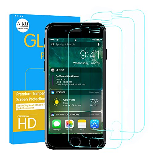Price comparison product image (3-Pack)iPhone 8 Plus 7 Plus 6S Plus 6 Plus Screen Protector,AIKU iPhone 8 Plus Tempered Glass Screen Protector for Apple iPhone 8 Plus 7 Plus, iPhone 6S Plus, 6 Plus,9H Hardness,