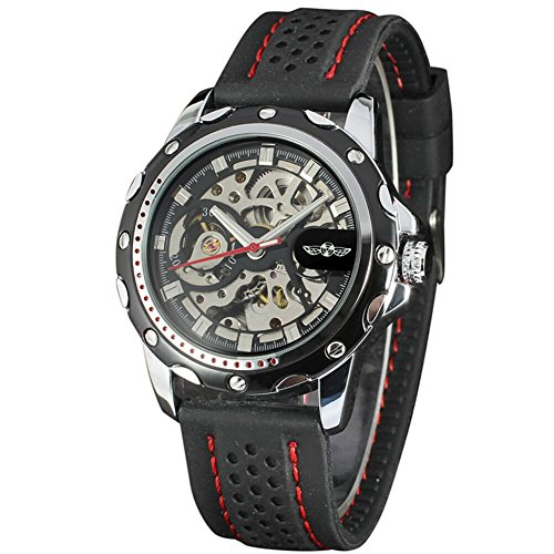 (TIDOO Winner Rubber Strap Band Mechanical Automatic Self-Wind Skeleton Watches )