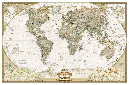 World Executive Political Wall Map (Enlarged Size & Tubed World Map) by National Geographic Maps