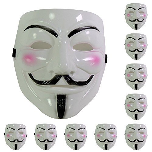 Set of 10 White V for Vendetta Guy Fawkes Anonymous Costume Cosplay Masks for $<!--$18.99-->