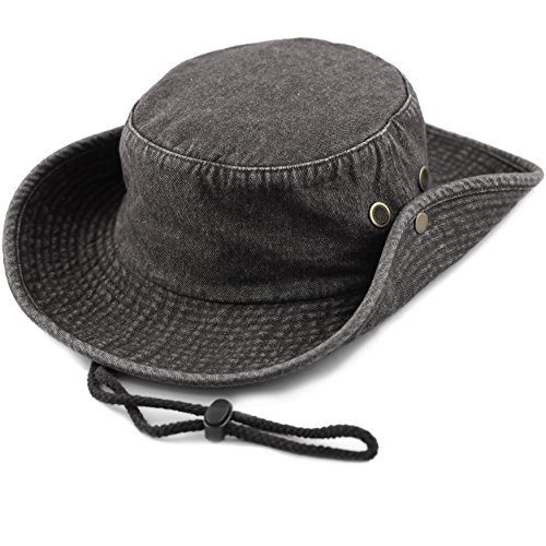 90af3d93 THE HAT DEPOT 300N1510 Wide Brim Foldable Double-Sided Outdoor Boonie  Bucket Hat (S/M, Black Denim)