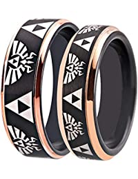 Free Custom Engraving The Legend of Zelda Ring- Crest and Triforce Ring Black and Rose Gold Step Tungsten Carbide Wedding Bands Ring