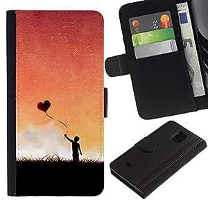 YiPhone /// Tirón de la caja Cartera de cuero con ranuras para tarjetas - Globo del corazón del amor - Samsung Galaxy S5 Mini, SM-G800