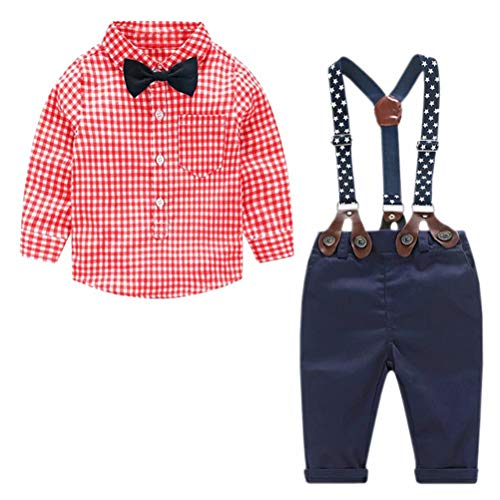 Baby Boy's 2 Pieces Tuxedo Outfit, Long Sleeves Plaids Button Down Dress Shirt with Bow Tie + Suspender Pants Set Suit for Infant Newborn Toddlers, Red, for 6-12 Months = (2 Piece Dress Shirt)