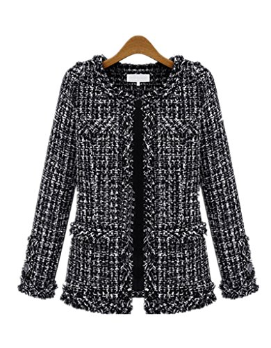 Tweed Fitted Jacket (TENGFU Women's Elegent Long Sleeve Collarless Bomber Tweed Jacket Coat Black)