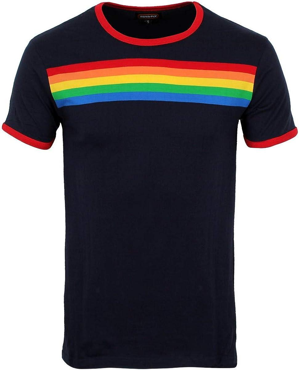 Mens Vintage Shirts – Casual, Dress, T-shirts, Polos Run & Fly Ringer Retro Rainbow Striped Unisex Navy T-Shirt £17.99 AT vintagedancer.com