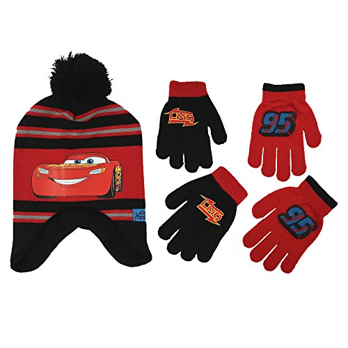 Disney Little Boys Cars Lightning McQueen Hat and 2 Pair Mittens or Gloves Cold Weather Accessory Set, Ages 2-7 (Little Boys Age 4-7 Hat & 2 Pair Gloves (Hat And Gloves Set)