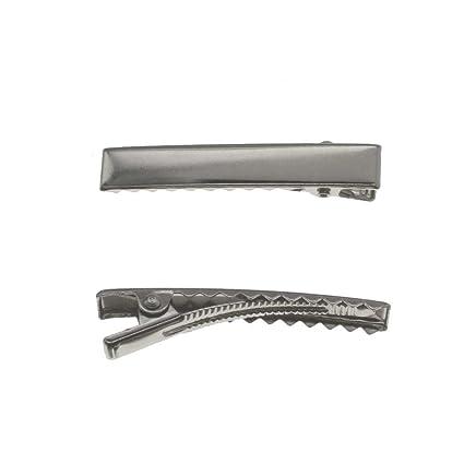 144 PCS Fashion Spring Barrettes 60mm Silver Hair Clip Craft Ribbon Bow DIY Tool