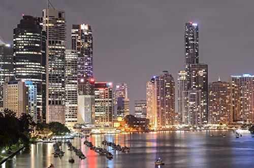 Home Comforts Peel-n-Stick Poster of Southbank Brisbane Night Lights City Lights Vivid Imagery Poster 24 x 16 Adhesive Sticker Poster Print