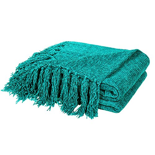 Summer Chenille Throw Blanket with Decorative Fringe Lightweight Cover for Couch Sofa Bed Chairs Furniture Home Decor Teal