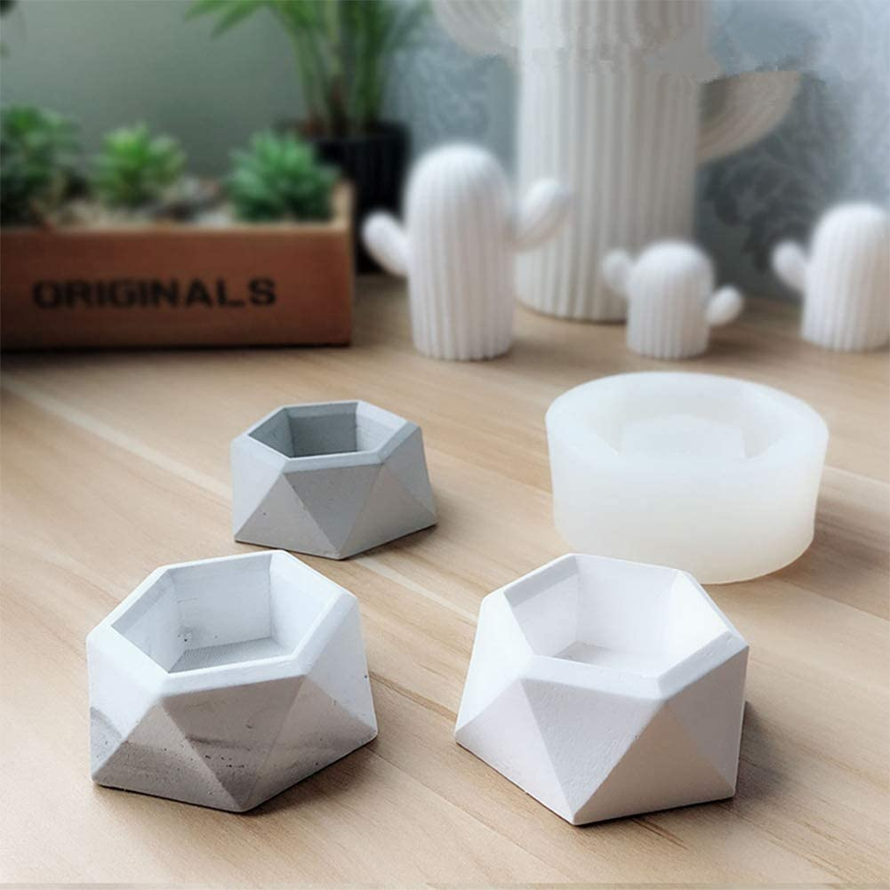 jarr/ón hormig/ón cemento para hacer plantas suculentas cenicero moldes de resina blanco Molde de silicona hexagonal para hacer macetas con forma de diamante