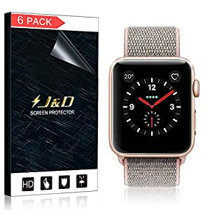 [6-Pack] Apple Watch 42mm Series 3, Series 2, Series 1 Screen Protector (Not Glass), J&D Soft Skin [Full Coverage] [Bubble Free] HD Clear Screen Protector for Apple Watch 42mm Series 3 / 2 / 1