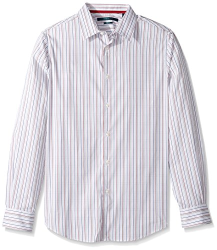 (Perry Ellis Men's Long Sleeve Multi Color Check Shirt, Bright White-4CMW7047, Small)