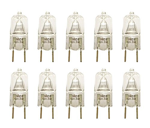 VSTAR G8 120V 20W Halogen Light Bulbs,2700K,with G8 Base,Shorter<35mm(10 Pcs)