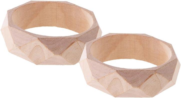 Vintage Women Faceted Unfinished Nnarrow Wood Wooden Bracelet Bangle DIY